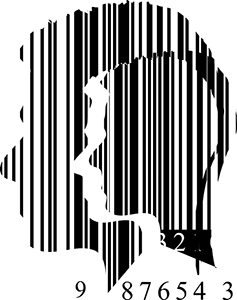 Strichcode in Form eines menschlichen Kopfes